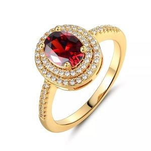 Red Oval Double Halo Gold Engagement Ring