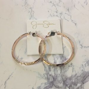 Jessica Simpson rose gold hoops