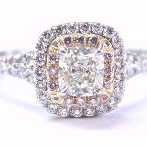Tiffany & Co Platinum Cushion Cut Pink Diamond Sol