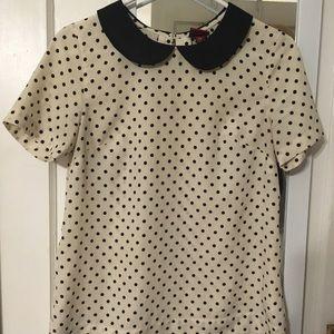 Peter Pan collar, cream w/ black polka dot shirt