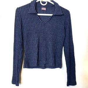 90s vtg grunge stretch ribbed collared sweater M