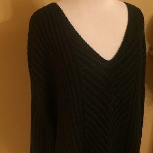 Ava & Viv Black Cable Knit Blue Sparkle Sweater