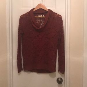 Anthropologie Lilka Lace Cowl Neck Top