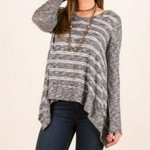Large Lazy Sundays gray striped sweater NWOT