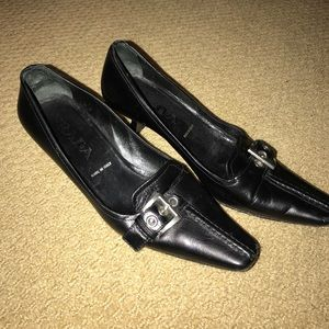 Prada heels pointed with silver buckle size 36