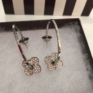 New Henri Bendel silver pave flower hoop earrings