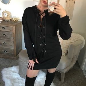 Sweaters - 🆕 Laced Up Black Sweater Dress