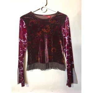 90s vtg grunge floral velvet bell sleeve top M