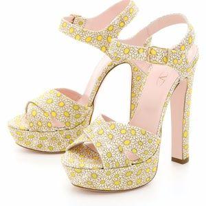 Valentino Red Daisy Platform Sandals Heels