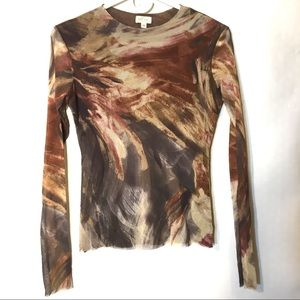 90s vtg grunge abstract print mesh top M