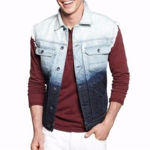 New GUESS Dip Dye Denim Vest in Stone Wash