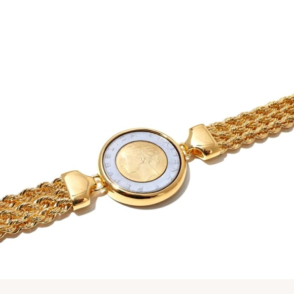3 rope chain link bracelet with 500 lira coin
