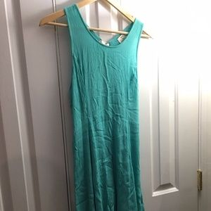 Flowy Turquoise Lace-Up Dress