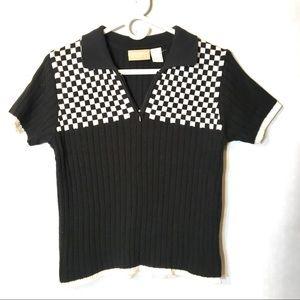 90s vtg grunge 🏁 checkered collared top M L