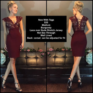 Dresses & Skirts - Holiday Red Burgundy Lace Nude Fitted Cocktail