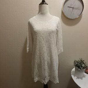 White Floral Lace Midi Dress H&M