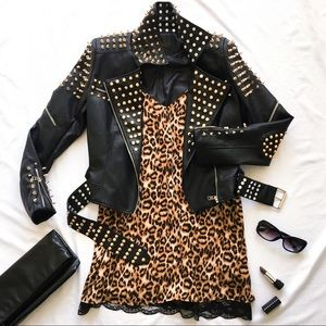 Jackets & Blazers - 🖤 NWOT Gold + silver studded faux leather jacket
