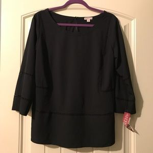 Sz L blouse w/ detailed sm. cut out outs. NWT