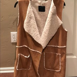 Faux Shearling Open-Front Soft Suede-like Vest