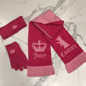 Juicy Couture scarf, gloves and headband