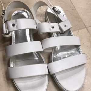 Topshop White Mini Platform Sandals with buckle