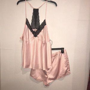 Pink and black pajama shorts set