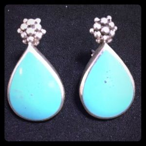 Vintage Turquoise Sterling Silver Post Earrings