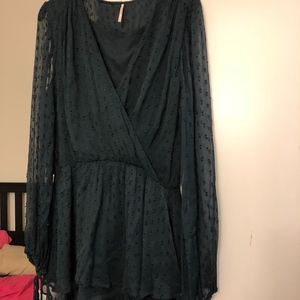 Free People Emerald Detailed Long Sleeve Dress