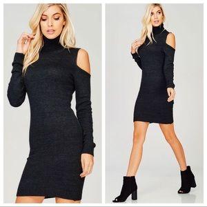 Dresses & Skirts - Cold Shoulder Knit Turtle Neck Bodycon