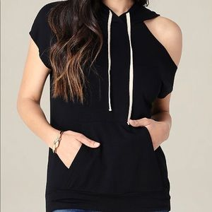 Bebe Cutout Hooded Sweatshirt