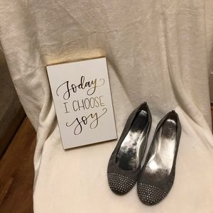 J. Crew Gray Suede Flats with Studded Toes Size 7