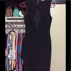 Missguided  Black Open front black dress