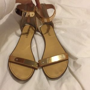 Tan gold plated sandals