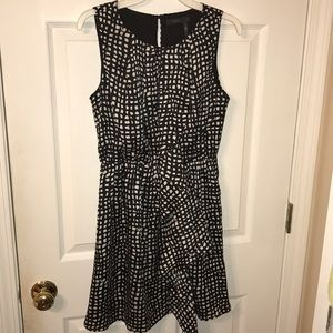 Printed high-neck satin dress