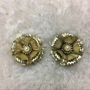 🎈Vintage Metal Art Deco Faux Pear ClipOn Earrings