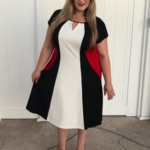 Dresses & Skirts - Plus Size Black White & Red Dress NWT Size 22