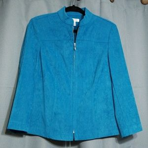 Dress barn Turquoise lined zippered jacket
