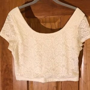 Mossimo Supply Co White Lace Crop Top