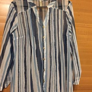 Sheer blue and white striped button down blouse