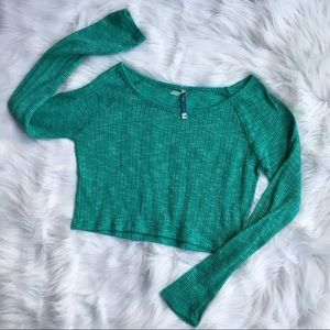 Wallflower Perfect Pair Turquoise Crop Sweater