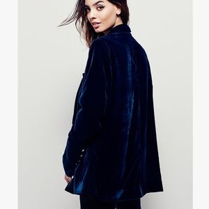 Free People velvet navy blazer