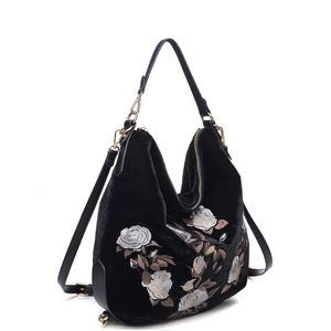 Black Velvet EMBROIDERED Hobo Style PurseBackpack