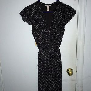 H&M dark blue with white polka dot dress