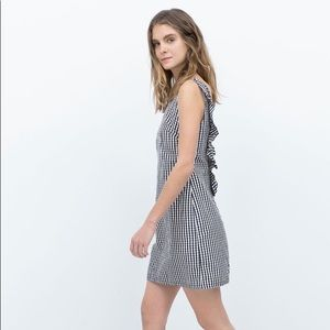 Zara gingham ruffle back dress