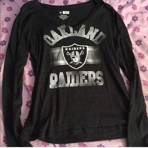 Oakland Raiders Football Long Sleeve V-Neck Tee