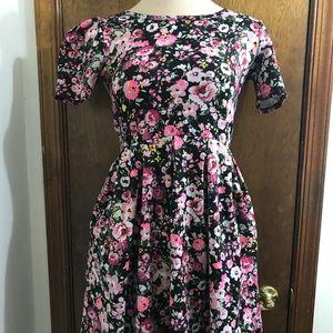 Lularoe Amelia Floral Zipper Back Dress Size XS