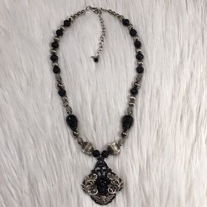 {posted for customer}  TT Black & Silver Necklace