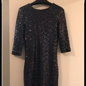 Black sequin 3/4 length sleeve dress