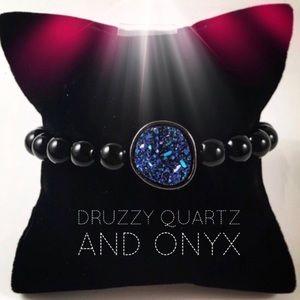 Women blue druzy galaxy onyx beaded bracelet