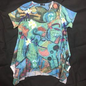 Colorful Inoah women's Short Sleeve blouse Size M